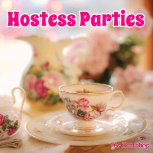 Teacup, saucer and flowers with Hostess parties text