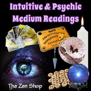 Psychic medium Readings promotional ad pic with images of divination