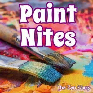 Paint brushes and paint with Paint Nites text