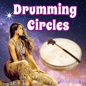 Indigenous woman looking into night sky with drum and drumming circles text